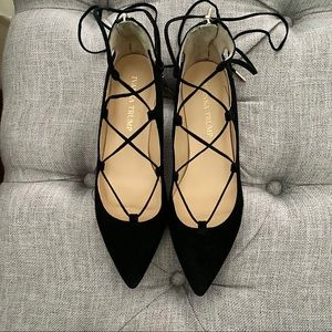 Black Suede Pointy Toe Lace Up Flats